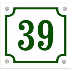 Husnummerskylt vitgrön 14*13 cm