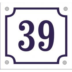 Husnummerskylt vitblå 14*13 cm